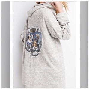 Oversized Zip Up Tiger Hoodie Top